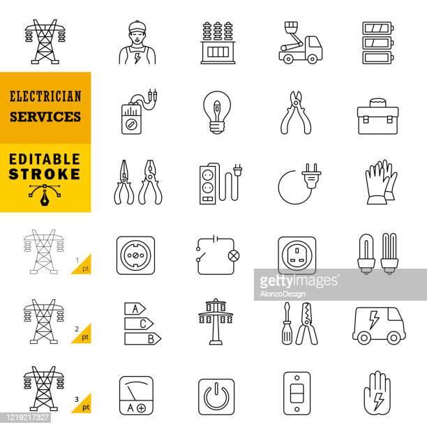 stockillustraties, clipart, cartoons en iconen met elektricien services line iconen. bewerkbare slag. - stroom activiteit