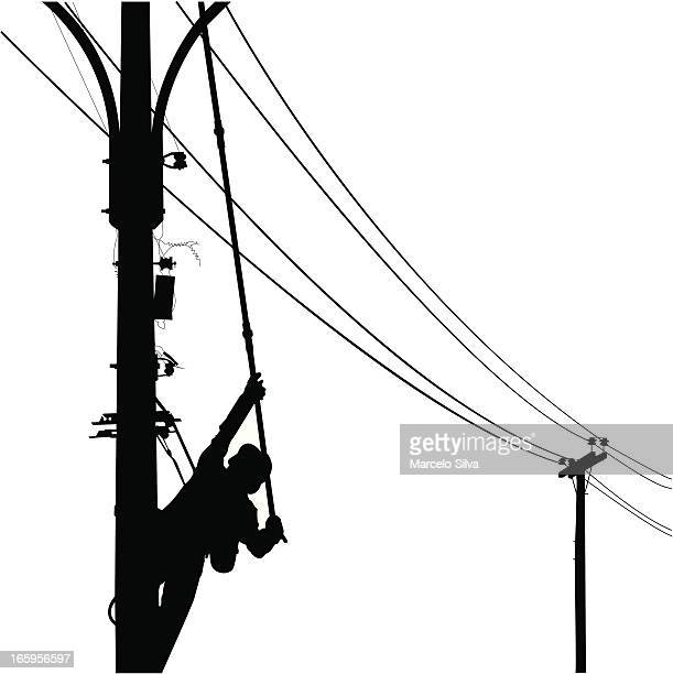 electrician silhouette using a pole - power supply box stock illustrations, clip art, cartoons, & icons