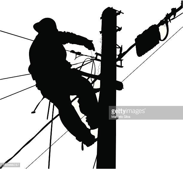 electrician silhouette working in a pole - steel cable stock illustrations