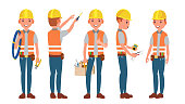 Electrician Vector. Different Poses. Working Process. Flat Cartoon Illustration