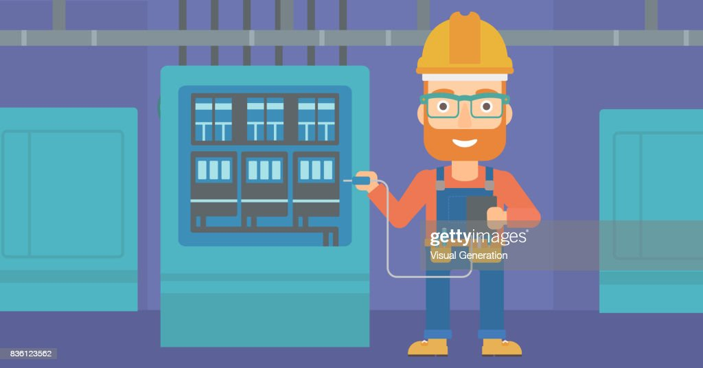 Electrician with electrical equipment