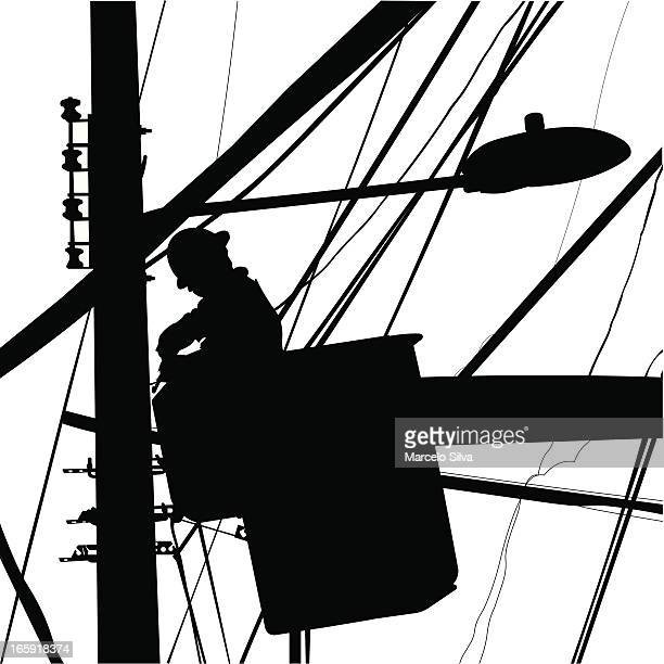 electrician working in street lights silhouette - power outage stock illustrations, clip art, cartoons, & icons