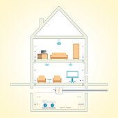 Electricity and communications plan in the house, vector image