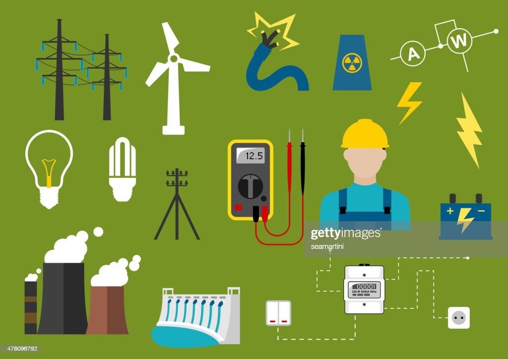 Electricity and engineering flat icons