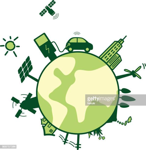 ilustraciones, imágenes clip art, dibujos animados e iconos de stock de coche eléctrico de carga sobre la tierra - ecosistema