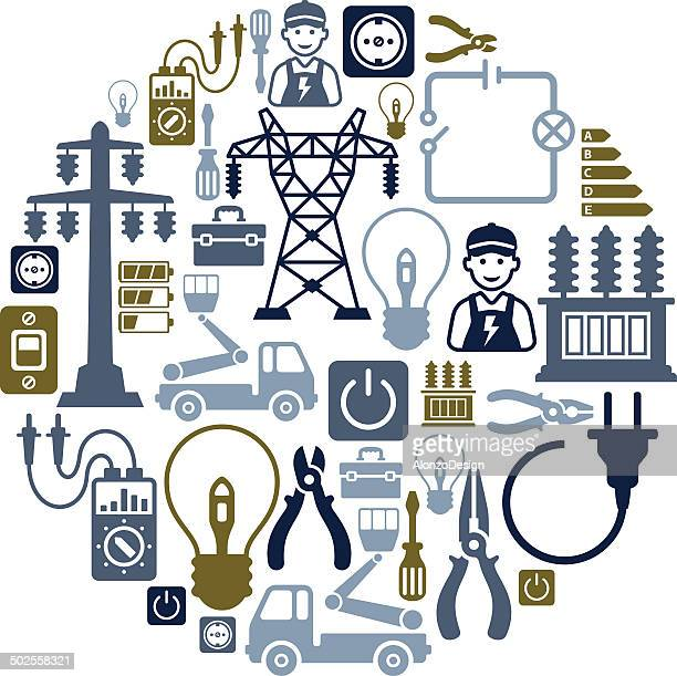 electricity collage - electricity stock illustrations, clip art, cartoons, & icons