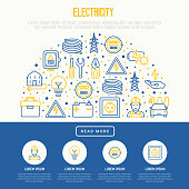 Electricity concept in half circle with thin line icons: electrician, bulb, pylon, toolbox, cable, electric car, hand, solar battery. Vector illustration for banner, web page, print media.