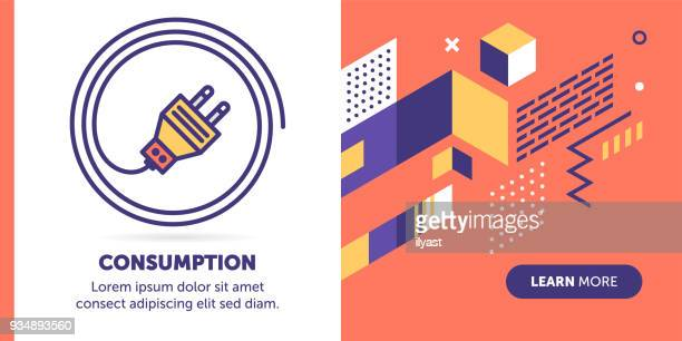 electricity consumption banner - electric plug stock illustrations, clip art, cartoons, & icons