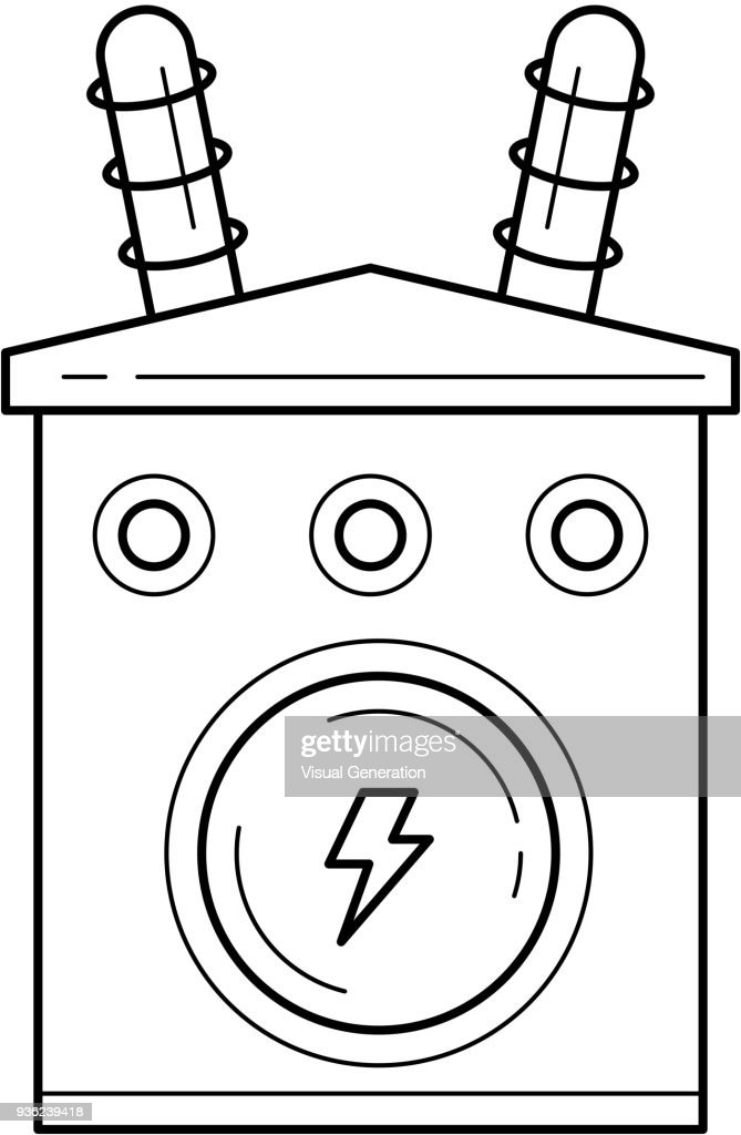 Electricity distribution vector line icon