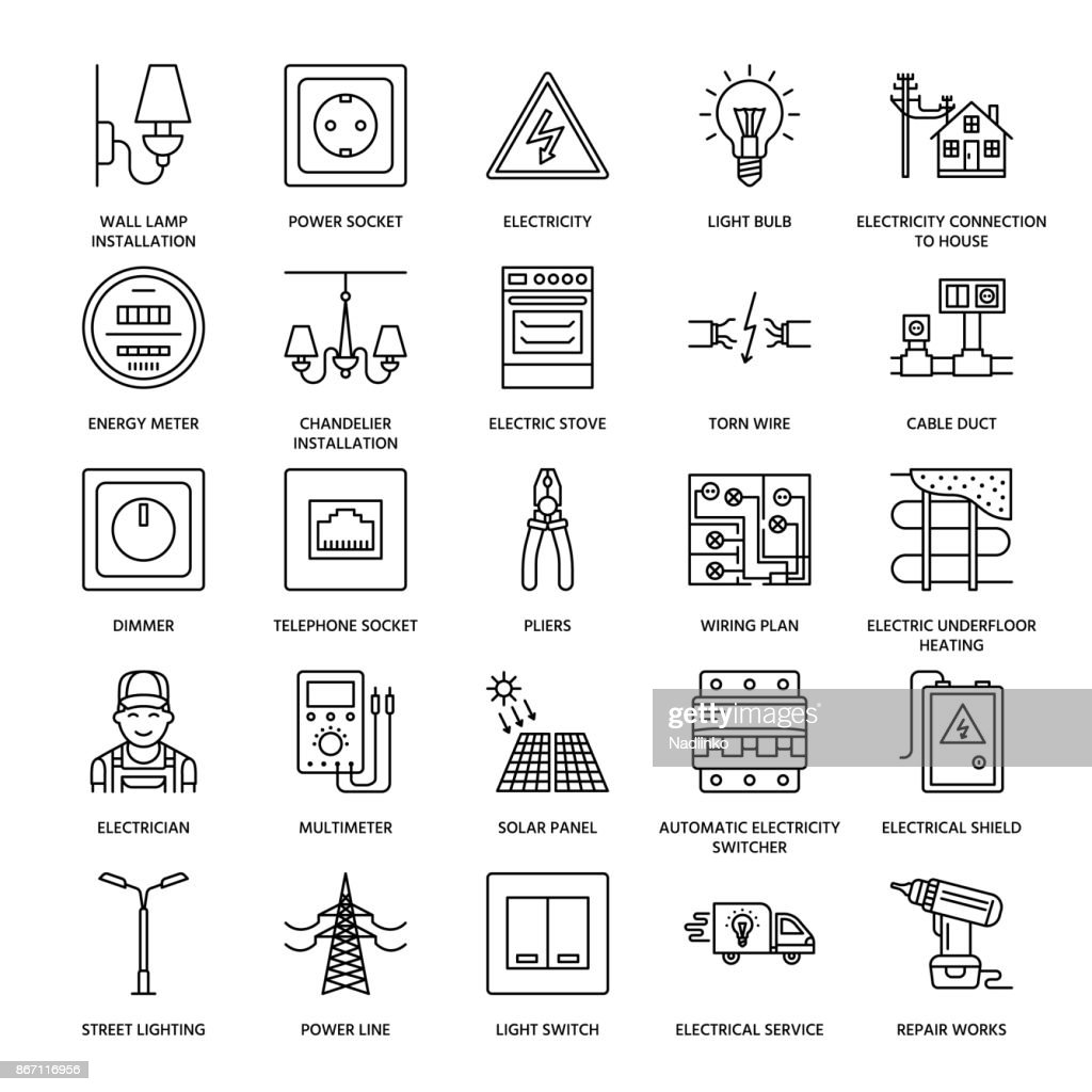 Electricity engineering vector flat line icons. Electrical equipment, power socket, torn wire, energy meter, lamp, wiring design, multimeter. Electrician services signs, house repair illustration