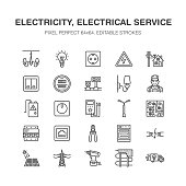 Electricity engineering vector flat line icons. Electrical equipment, power socket, torn wire, energy meter, lamp, multimeter Electrician services signs house repair illustration. Pixel perfect 64x64