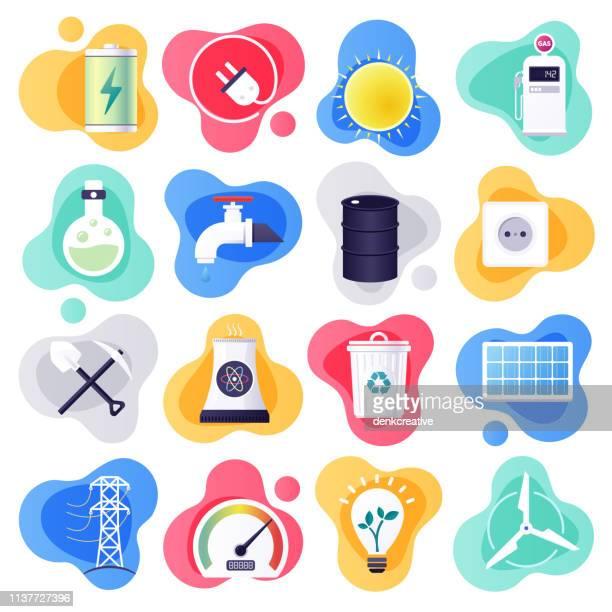 electricity generation & energy consumption flat flow style vector icon set - energy efficient stock illustrations