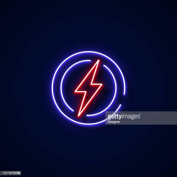 illustrazioni stock, clip art, cartoni animati e icone di tendenza di icona elettricità stile neon, elementi di design - industria energetica