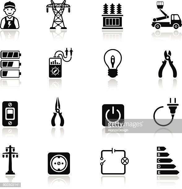electricity icon set - electricity stock illustrations, clip art, cartoons, & icons