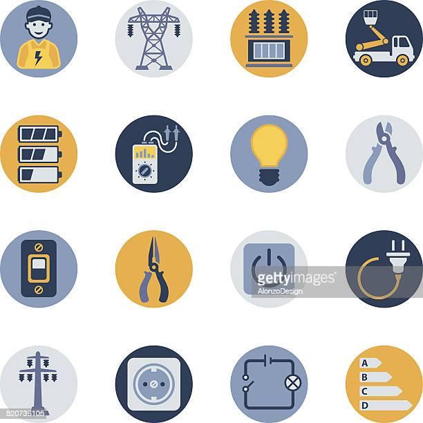ilustraciones, imágenes clip art, dibujos animados e iconos de stock de conjunto de iconos de electricidad - electricista