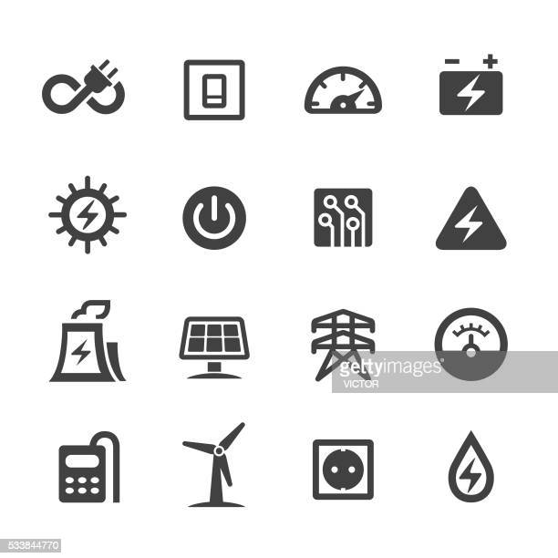 electricity icons - acme series - power line stock illustrations
