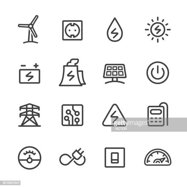 electricity icons - line series - switch stock illustrations, clip art, cartoons, & icons