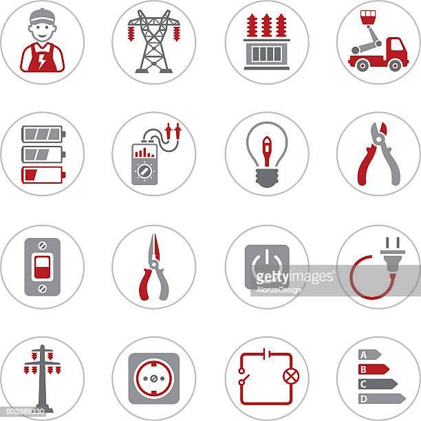 ilustraciones, imágenes clip art, dibujos animados e iconos de stock de iconos de electricidad - electricista
