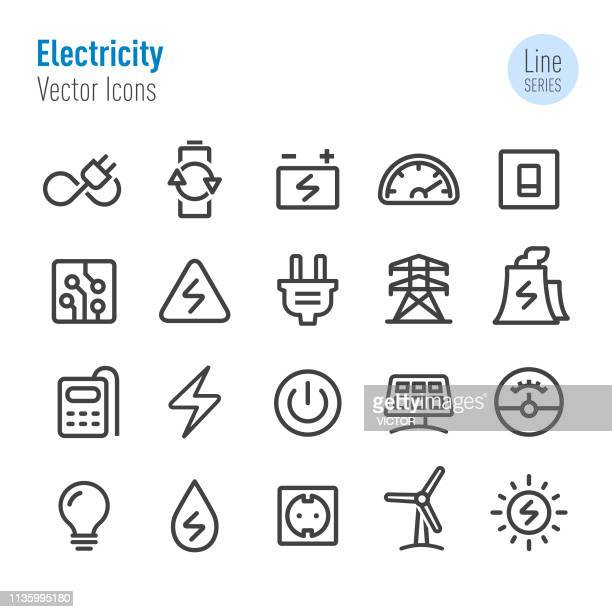 electricity icons - vector line series - power line stock illustrations