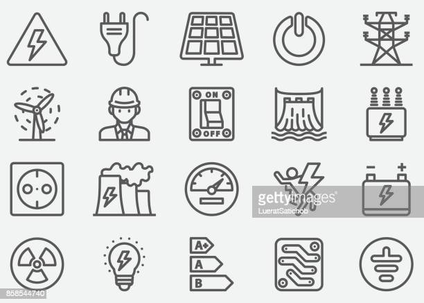 electricity line icons - power line stock illustrations