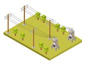 Electricity low poly isometric elements of transformer, extension and column.