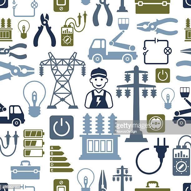 ilustraciones, imágenes clip art, dibujos animados e iconos de stock de patrón de electricidad - electricista