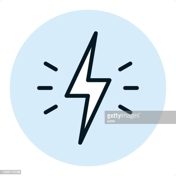 strom - pixel-perfekte zeile-symbol - blitzbeleuchtung stock-grafiken, -clipart, -cartoons und -symbole