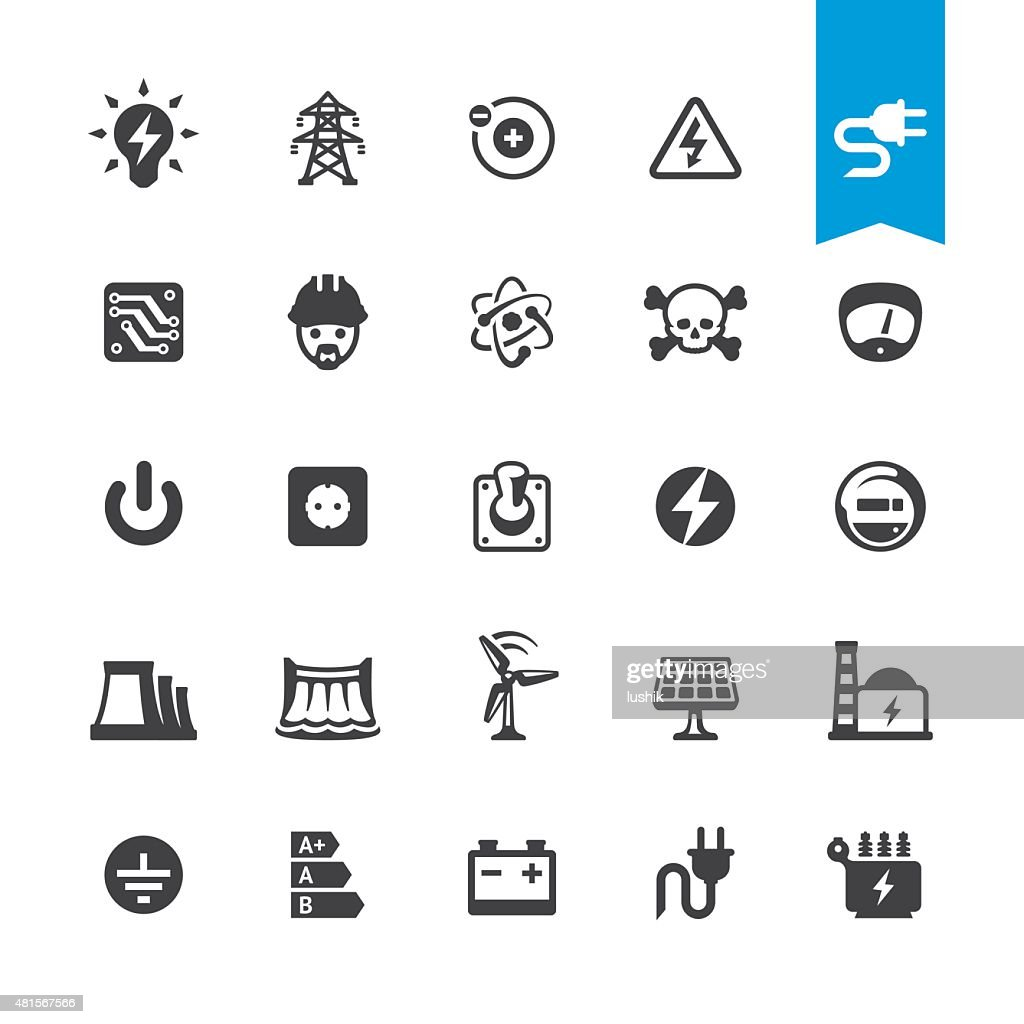 Electricity related vector icons : stock illustration