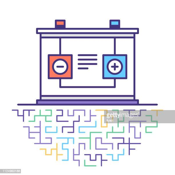 electricity storage‎ flat line icon illustration - car battery stock illustrations, clip art, cartoons, & icons