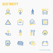 Electricity thin line icons set: electrician, bulb, pylon, toolbox, cable, electric car, hand, solar battery. Vector illustration.