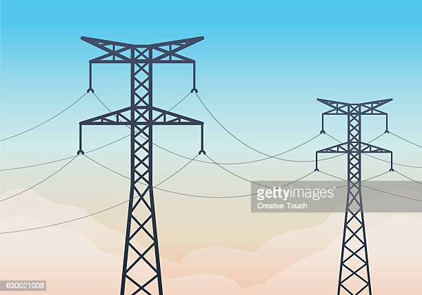 electricity tower in sunrise - power line stock illustrations