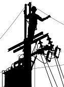Electricity utility worker silhouette