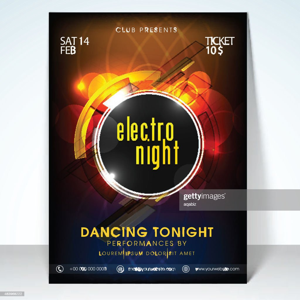Electro night party celebration flyer.