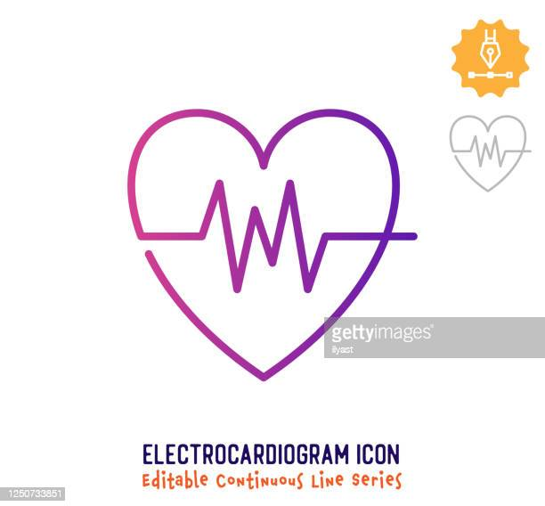 electrocardiogram continuous line editable stroke line - beating heart stock illustrations