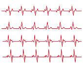 electro-cardiogram Line rhythm illustration material set