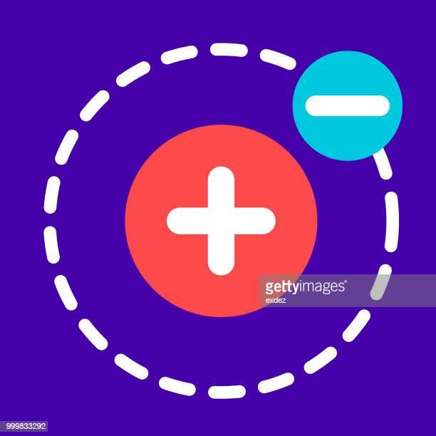 ilustrações, clipart, desenhos animados e ícones de ícone do elétron - subtração