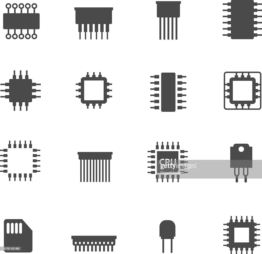 Electronic Chip Icons Vector Art Getty Images