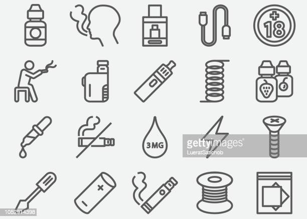 electronic cigarette line icons - smoke stock illustrations, clip art, cartoons, & icons