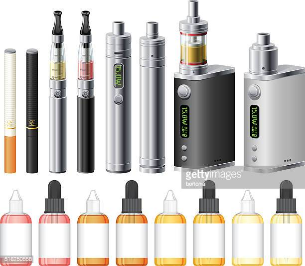 electronic cigarettes and e-liquid icon set - electronic cigarette stock illustrations, clip art, cartoons, & icons