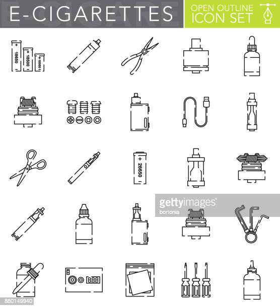 electronic cigarettes open outline icon set in flat design style - electronic cigarette stock illustrations, clip art, cartoons, & icons