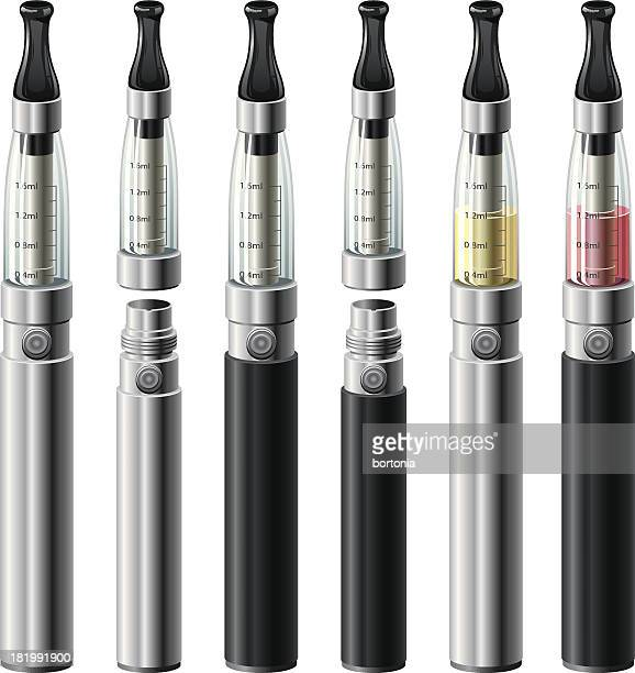 electronic cigarettes set - electronic cigarette stock illustrations, clip art, cartoons, & icons