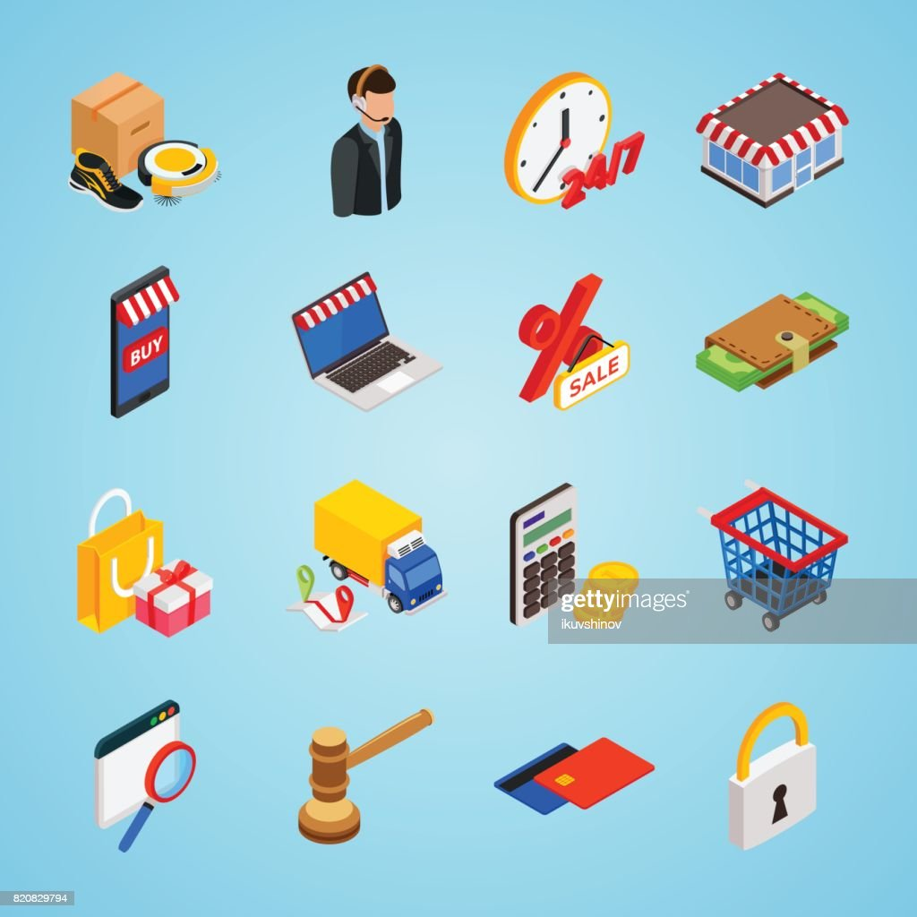 Electronic commerce isometric icon set with gadgets for buying on internet shopping