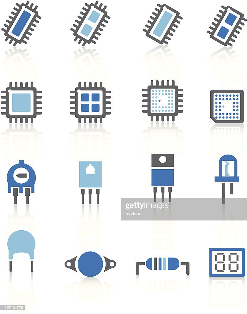 Electronic component Icons - Blue Series