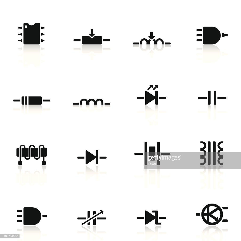 Electronic Components And Symbols Simple Set Circuit Crossing Symbol Clip Art At Clkercom Vector Download