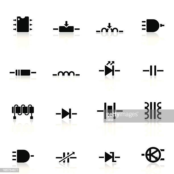 Electronic Components Icon Set | Simple Collection