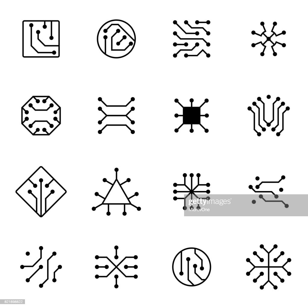Electronic computer chip circuit and motherboard equipment vector icons