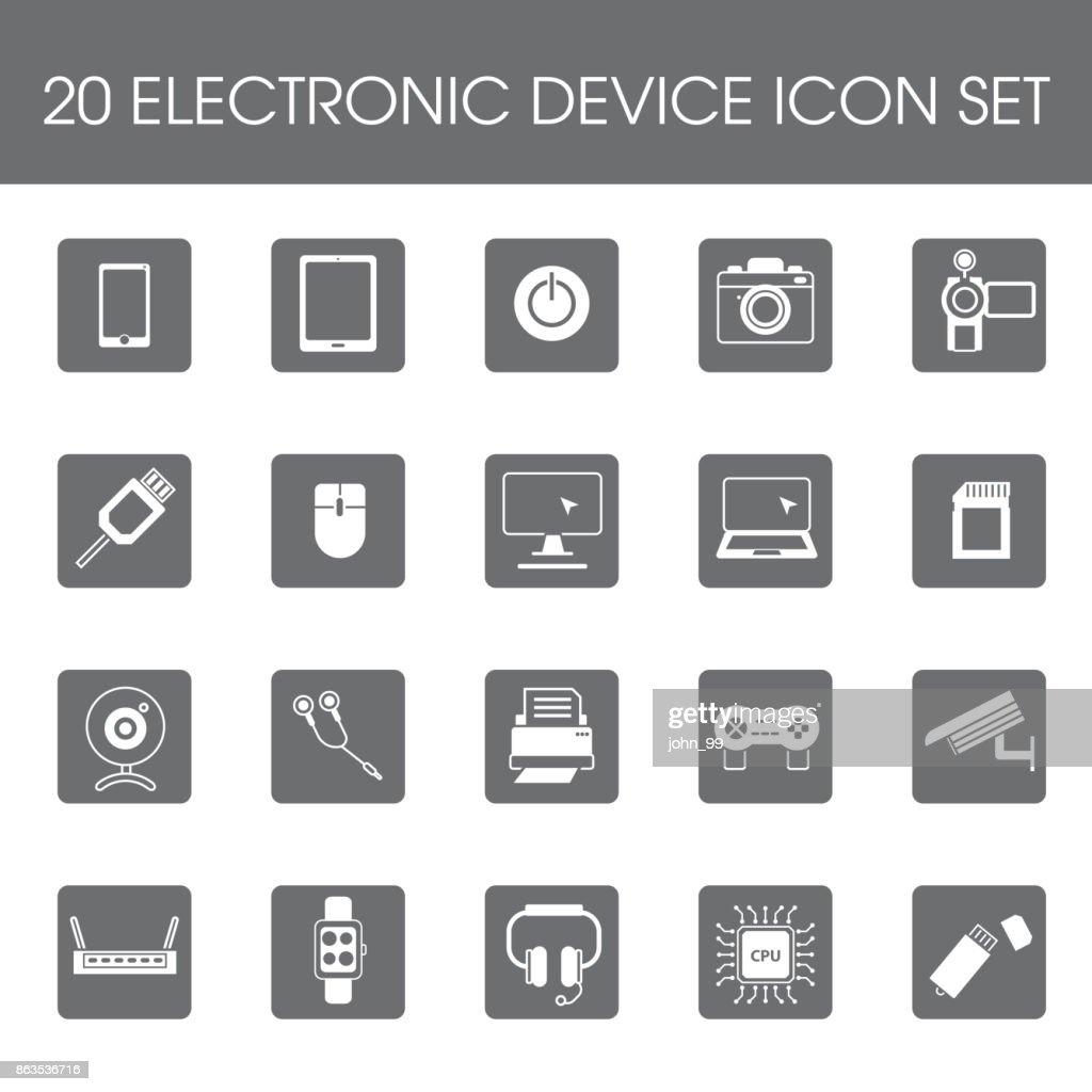 20 Electronic device icon set flat style