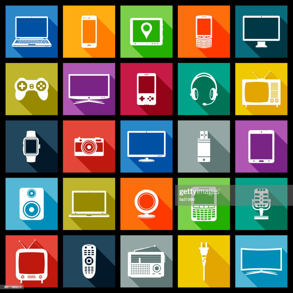 Electronic devices flat design icons