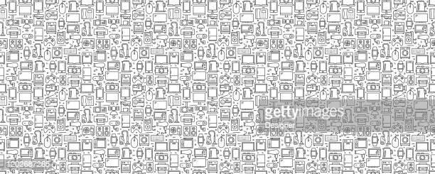 電子デバイスシームレスパターンと背景とラインアイコン - 家電製品点のイラスト素材/クリップアート素材/マンガ素材/アイコン素材