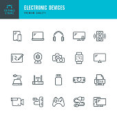 Electronic Devices - set of thin line vector icons